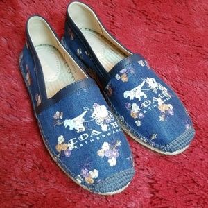 "Coach ""Casey"" painted floral bow Espadrille"